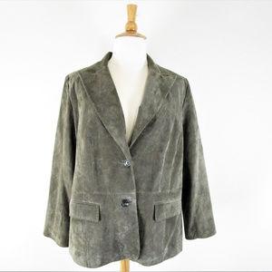 Alfani Plus Size Olive Suede Leather Blazer Coat